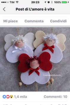 Angels w hearts ornaments Christmas Ornament Crafts, Christmas Crafts For Kids, Felt Ornaments, Christmas Angels, Christmas Projects, Felt Crafts, Handmade Christmas, Christmas Fun, Holiday Crafts