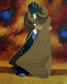 This piece was used for 2008 Cave Creek Wild West Days Poster Titled Lean On Me by New West Contemporary artist Lance Headlee. This is a contemporary western print of a cowboy and a cowgirl.