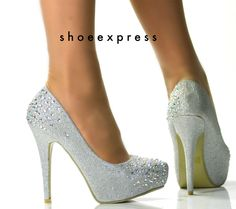 Women Silver Diamante Encrusted Detailing Studded High Ladies Ankle Strap Court