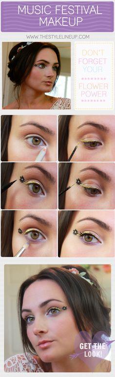 Love her hair! Music Festival Makeup - The Style Lineup - Festival Makeup - Hippie Makeup - Flower Power - Festival - Music - Makeup