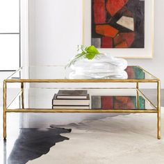 Modern History Home Organic Coffee Table Table Base Colour: Antique Aluminum Table Storage, Coffee Table With Storage, Formal Living Rooms, Living Spaces, Antique Mirror Glass, Home Coffee Tables, Round Side Table, Modern History, Center Table