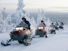 snow-mobiling in Finland