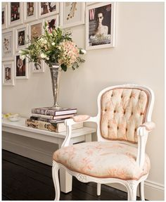 Love the chair, frame collage on the wall and the overall elegance of the whole thing.