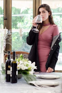 Second Outfit ootd by AR Zantkeren Pink dress a jeans jacket and Wine