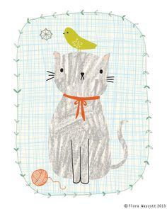 Crayons à dessiner impression Giclée Cat 8 x 10 par florawaycott