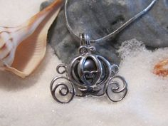 Disney Princess Cinderella  Pearl Cage Carriage Silver Plated Charm Necklace with Black Pearl - I think my LO would love this for her bday.