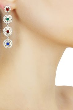Silver finish seed pearls 4 tier long earrings available only at Pernia's Pop Up Shop.