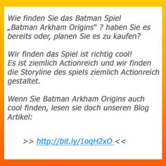 """http://bit.ly/1oqH2xO -> Wie finden Sie das Batman Spiel """"Batman Arkham Origins"""" ? haben Sie es bereits oder, planen Sie es zu kaufen?  Wir finden das Spiel ist richtig cool!  Es ist ziemlich Actionreich und wir finden die Storyline des spiels ziemlich Actionreich gestaltet.  Wenn Sie Batman Arkham Origins auch  cool finden, lesen sie doch unseren Blog Artikel:"""