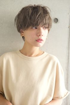 "The strongest fashionable hair ♡ ""nuance short"" latest hair catalog Short Hair Tomboy, Girl Short Hair, Short Curly Hair, Short Hair Cuts, Curly Hair Styles, Girls Short Haircuts, Cute Hairstyles For Short Hair, Latest Hairstyles, Androgynous Hair"