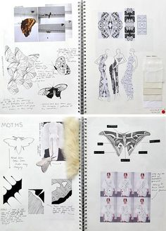 These sketchbook pages have a formal, organised, uncluttered presentation style, with a minimal use of colour. Items are positioned carefully, allowing each piece of the design process to be appreciated fully. The project contains a thorough investigation of detail and pattern, with first-hand observation of moths and butterflies informing subsequent designs.