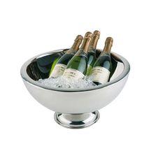 Edelstahl Champagnerschale mit Fuß, Doppelwandig für beste Isolationseigenschaften.