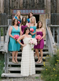 multicolored bridesmaids dresses.