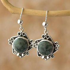 Jade dangle earrings, 'Sea Waves' - Jade dangle earrings
