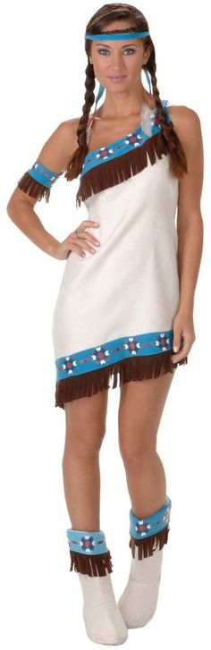 This Deluxe Princess Lily Indian Costume includes the microsuede dress with teal trim printed with Native American Indian pattern and brown fringe. Description from tribalcostume.com. I searched for this on bing.com/images