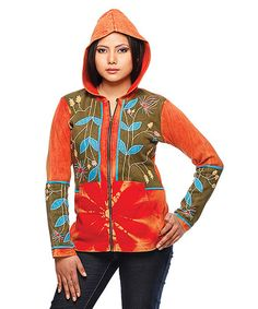 Take a look at this Red & Green Embroidered Hoodie - Women by Rising International on #zulily today!