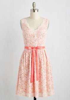 Hamptons of Fun Dress in Petal - Pink, Solid, Daytime Party, Pastel, A-line, Sleeveless, Spring, Woven, Lace, Better, Mid-length