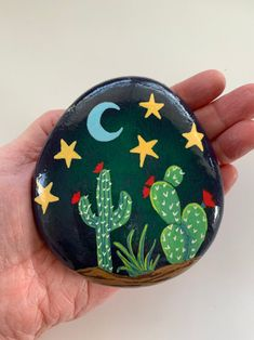 Cactus Painted StoneDesert Painted StoneSouthwest | Etsy Cactus Painting, Plant Painting, Pebble Painting, Pebble Art, Stone Painting, Painted Rock Cactus, Painted Rocks Craft, Hand Painted Rocks, Painted Pebbles