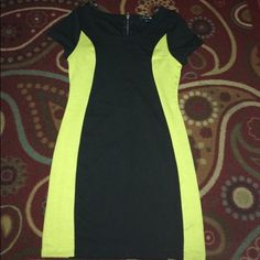 Black and lime dress Cute, worn once or twice, stretchy material, size small Forever 21 Dresses