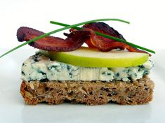 Danish open-face sandwich, or smorrebrod: Blue Cheese And Apple With Bacon