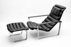 Finnish Pulkka Lounge Chair with Foot Stool by Ilmari Lappalainen for Asko, 1968 1