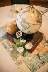 Ideas Vintage Travel Party Theme Decor For 2019 Travel Centerpieces, Wedding Table Centerpieces, Centerpiece Ideas, Shower Centerpieces, Vintage Centerpieces, Wedding Arrangements, Wedding Table Themes, Wedding Decorations, Wedding Ideas