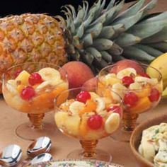 """Peachy Fruit Medley Recipe -Complete this made-in-minutes meal with <B>Fruit Medley</B>. """"This recipe is an adaptation of a fruit salad from my husband's aunt,"""" says Becky Hughes of Las Cruces, New Mexico. """"The original recipe calls for a homemade glaze, but I use canned peach pie filling to hurry along preparation."""