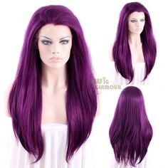 "Long Straight 24"" Dark Purple Lace Front Wig Heat Resistant #Wigglamour #FullWig"