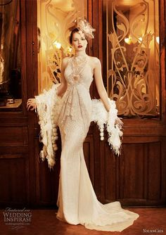 1920 style long white gown with beading