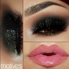 Add pizzazz to your black smoky eye with some glitter! Wear this brilliant look on your next night out for an unforgettable glam.