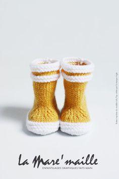 Bottes bébé marin en maille jaune en hommage aux bottes Lolly Pop - Aigle : Mode Bébé par la-mare-maille
