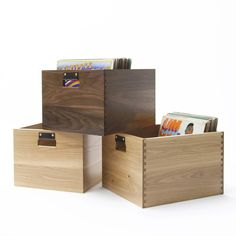 Dovetail Record Crate - 100 records. $225. Not stackable, but very pretty.