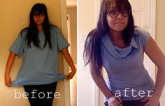 Two easy/cheap/cute ways to take a men's XL tee and turn it into something you might actually wear.