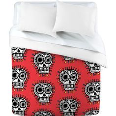 DENY Designs Andi Bird Sugar Skull Fun Red Duvet Cover, Twin by DENY Designs. $162.01. Top full color; bottom white. Fabric ultra soft, 100-percent polyester microfiber. Closure metal snaps seen in snap closure view. Metal snaps for closure. Manufacturing 6 color dye process, custom printed for every order. Turn your basic, boring down comforter into the super stylish focal point of your bedroom with this deny designs duvet cover. Custom printed when you order it, this duvet...