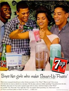 """Boys like girls who make Seven-Up """"Floats"""" What every young girl should know is this: Nobody can resist a """"Float""""! Want to see? Put a scoop of his favorite ice cream of… Old Advertisements, Retro Advertising, Retro Ads, Vintage Ads, Vintage Food, Retro Food, Vintage Photos, Vintage Magazines, Vintage Vibes"""