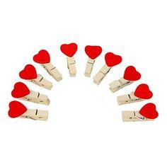 corazón dulce en forma de mini-pinza de madera con cuerda de cáñamo (10-pack)