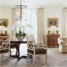 Great Idea - get about (odd better) orchid plants from Home Depot and place arrange in large container/pot/basket - and voila - instant gorgeous beautiful centerpiece! Beautiful Living Rooms, Beautiful Interiors, Home Living Room, Living Spaces, Fenton House, White Dining Chairs, Dining Room, Dining Table, Chippendale Chairs