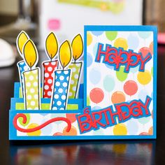 Sizzix Step-Ups Card, Basic - 21 Die Set - using candle stamps and dies Bday Cards, Birthday Cards For Men, Handmade Birthday Cards, Birthday Ideas, Flip Cards, Fancy Fold Cards, Folded Cards, Center Step Cards, Side Step Card