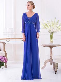 Sheath/Column 3/4 Sleeves V-neck Chiffon Floor-Length Beading Dresses