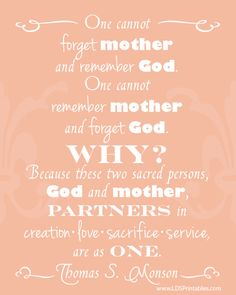 Mother and God are partners in creation, love, sacrifice, and service. Free printable. Motherhood. Another great gift idea for Mother's Day. #LDS #Printable #mothersday