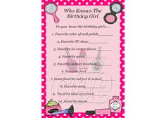 Spa Party Birthday Game, Spa Party Game For Girl, Spa Theme Birthday Party Game, Instant Download Birthday Game, Who Knows The Birthday Girl by KidsPrintablesByCee on Etsy https://www.etsy.com/listing/178265930/spa-party-birthday-game-spa-party-game