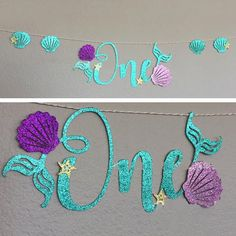 Set the scene for your little mermaid's 1st birthday party with this under the sea themed party banner. Featuring the word 'One' that is decorated with mermaid tails, shells and starfish, this glittering decoration is sure to make a splash at your girl's first birthday mermaid party. #GlitterBirthday