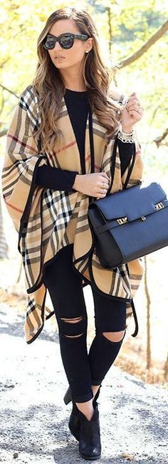 #winter #fashion / tartan coat + ripped denim