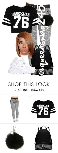 """""""Brooklyn"""" by queenswag245 ❤ liked on Polyvore featuring Boohoo, MICHAEL Michael Kors, Michael Kors and NIKE"""