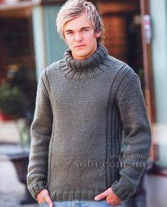 мужской серый свитер спицами