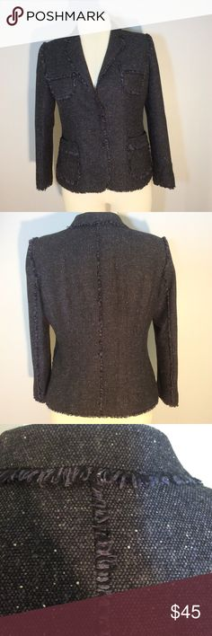 """Jones New York black/blue tweed jacket with fringe Jones New York black/blue tweed jacket trimmed with fringe. Pockets. Two hidden front snaps. Very Chanel-inspired look. Perfect with black or blue pants or skirt or over a dress. Polyester/wool blend. Lined. EUC. Size 14. Measures: 25"""" long. 21"""" from arm to arm pit. Sleeves 23"""" long. Jones New York Jackets & Coats Blazers"""