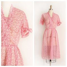 NEW   1950s pink sheer day dress   34-27-39 by trunkofdresses