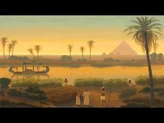 Sunset On The Nile At Giza Pyramids - Ancient Egypt - Egyptian Art - Handmade Oil Painting On Canvas Ancient Egypt Fashion, Ancient Egypt Art, Old Egypt, Nile River Ancient Egypt, Ancient History, Ancient Egypt Pyramids, Egypt Concept Art, Art Arabe, Toile Photo