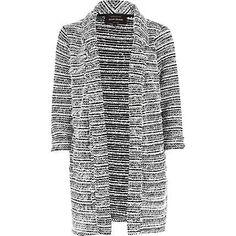 White fluffy stripe longline boyfriend blazer £40.00