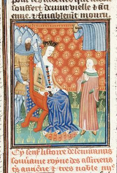 BL Royal 16 G V f.6 - Semiramis seated, with a sword, with her son before her and men in armour behind.  [De claris mulieribus in an anonymous French translation (Le livre de femmes nobles et renomées) - G. Boccaccio - 1440] [http://en.wikipedia.org/wiki/De_mulieribus_claris]