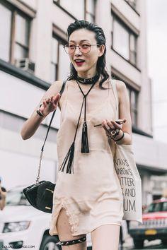 Lingerie In Street Style. Slip dress at new_york_fashion_week_ss17 sora_choi